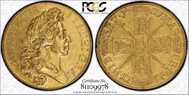 William III 5 Guineas British Coin