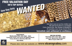 bLETCHLEY AND MILTON KEYNES ROADSHOW DATES VICEROY COINS